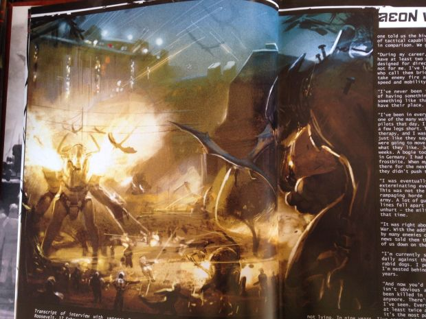 Giant robots fighting giant Cthulhu monsters.