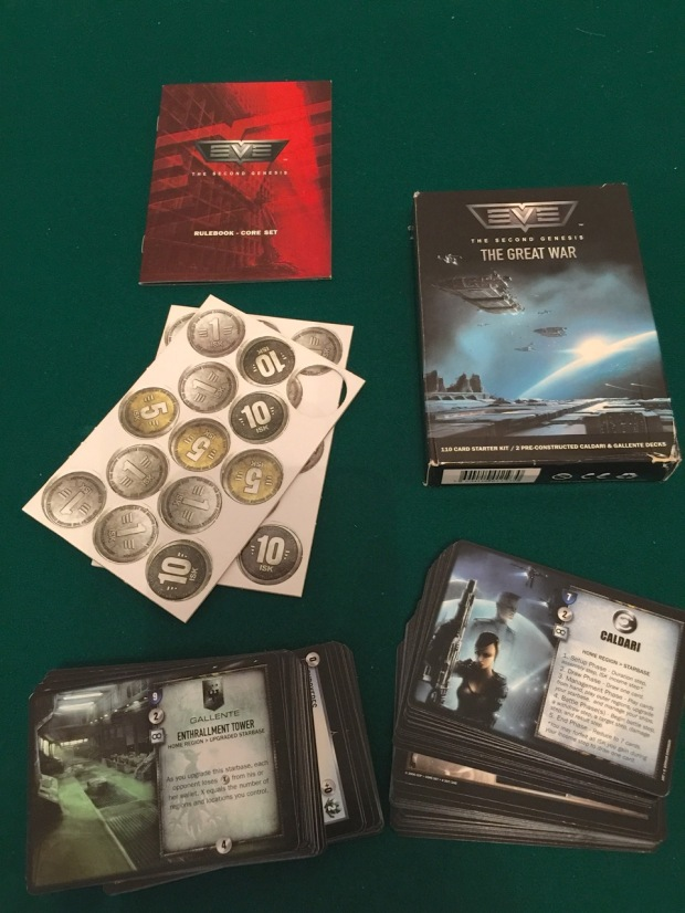 In a starter pack you get everything you need to play a two player game: two ready-made decks, cardboard money counters and rules.