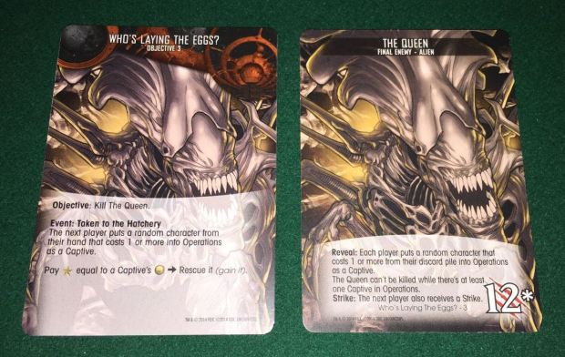 In the third objective, your cards are cocooned. You have to rescue them before you can kill the queen and win the game.