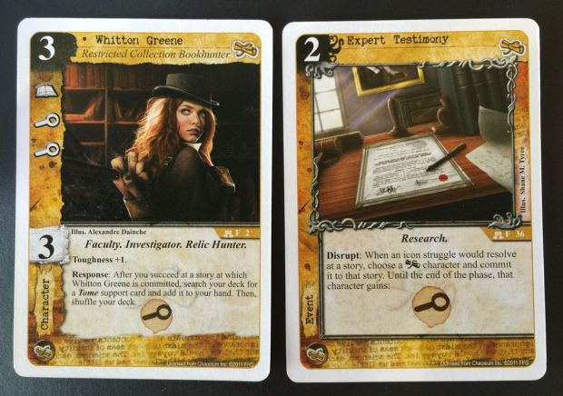 The Explorers' key investigation strategy. Whitton Greene and Expert Testimony add additional investigation struggles, allowing the Explorers to win more success tokens in each turn.