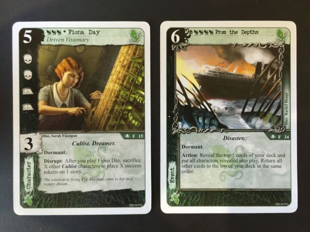 Two dormant cards triggered one after the other. Fiona Day sacrifices cultists to win a story out of nowhere,. Under this story is From the Depths, which replaces the cultists Fiona just sacrificed!