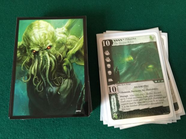 I put my Cthulhu cultist deck in the Cthulhu sleeves.